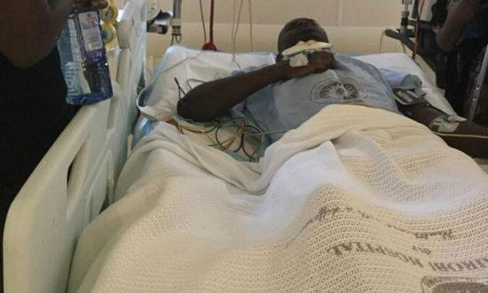 Felix Ondari alias DJ Evolve at the Nairobi Hospital where he has been receiving treatment.