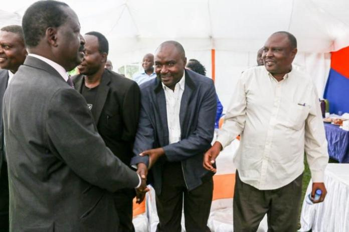 ODM Leader Raila Odinga welcomes south Nyanza leaders back to ODM at Chungwa House on Wednesday, March 4, 2020.