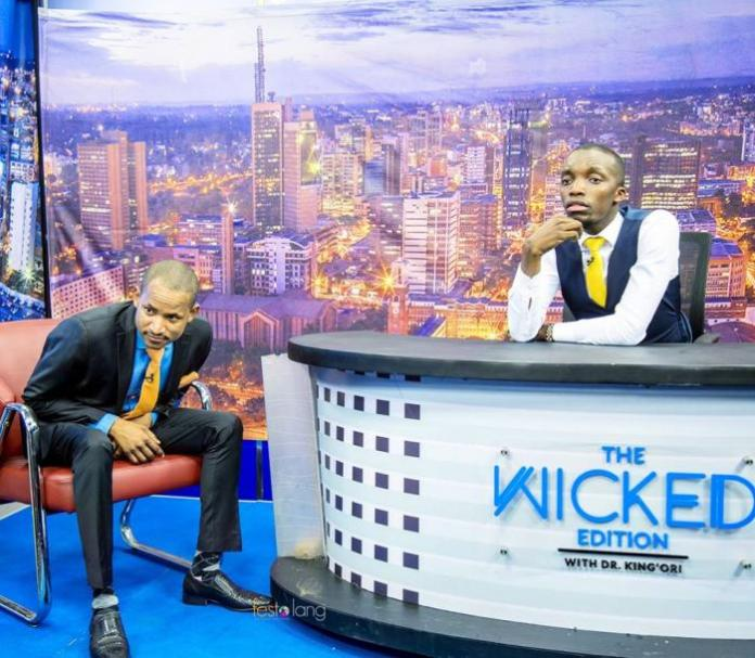 Embakasi East MP Babu Owino (l) on the Wicked Edition with host Dr King'ori on November 9, 2018.