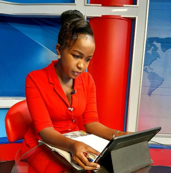 A photo of KTN News anchor Grace Kuria pictured in studio on February 29, 2020.