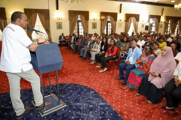 President Uhuru Kenyatta addressing Members of Nairobi's Count Assembly at State House on February 29, 2020.