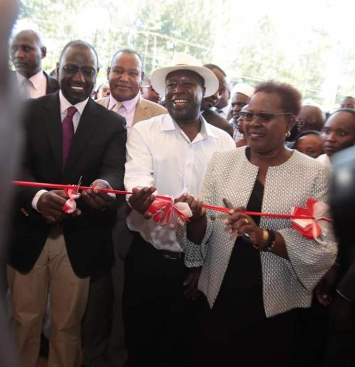Deputy President William Ruto (left) with Alice Wahome, Kandara MP (right) at the official opening of Kandara Training Technical College in Muranga County on Friday, March 6, 2020