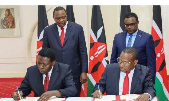 Governor Mike Mbuvi Sonko and Devolution Cabinet Secretary Eugene Wamalwa in concurrence with H.E President Uhuru Kenyatta, signed an agreement, handing over functions of the Nairobi County Government to the National Government