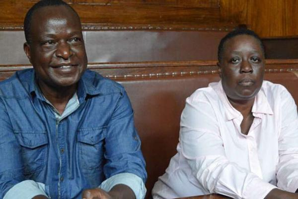 Kisumu Senator Fred Outa (left) and former Kisumu Deputy Governor Ruth Odinga (right) in court in 2017