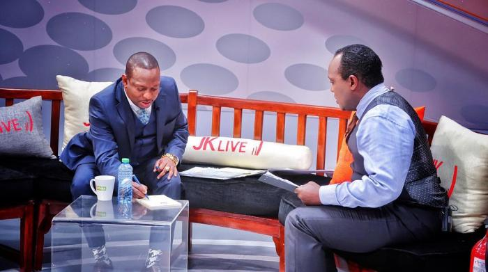 Nairobi Governor Mike Sonko and renowned journalist Jeff Koinange on September 19, 2018.