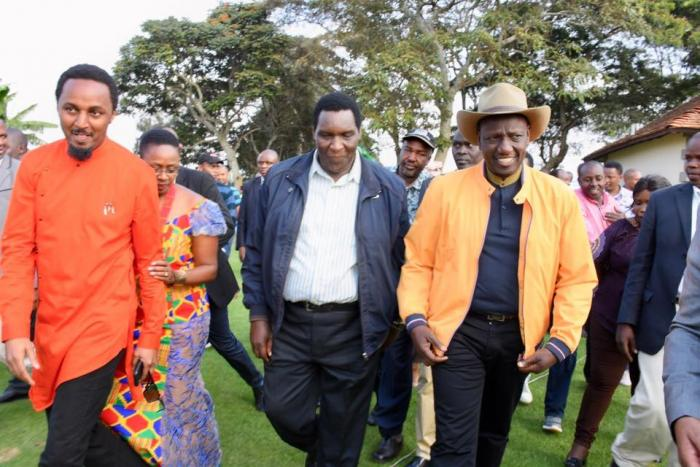 Kiambu sports CEC Karungo Thang'wa, speaker Stephen Ndichu and Deputy President William Ruto