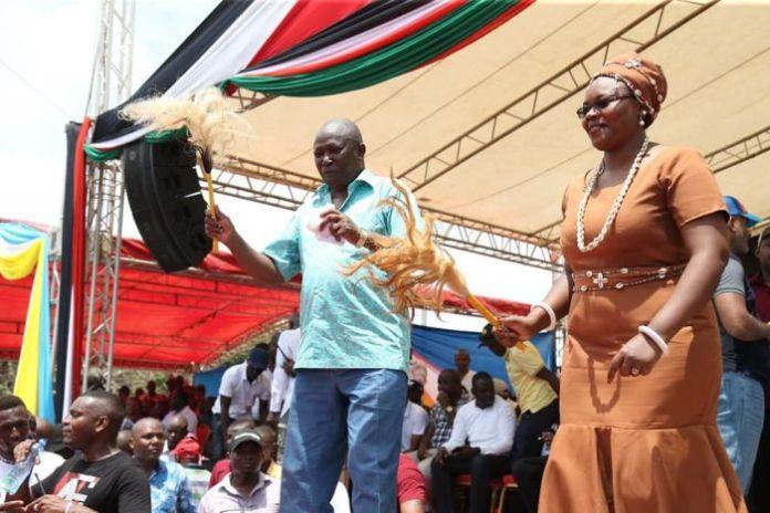 Kiambu woman representative Gathoni Wamuchomba and nominated MP Maina Kamanda during the BBI rally in Kitui county on January 25