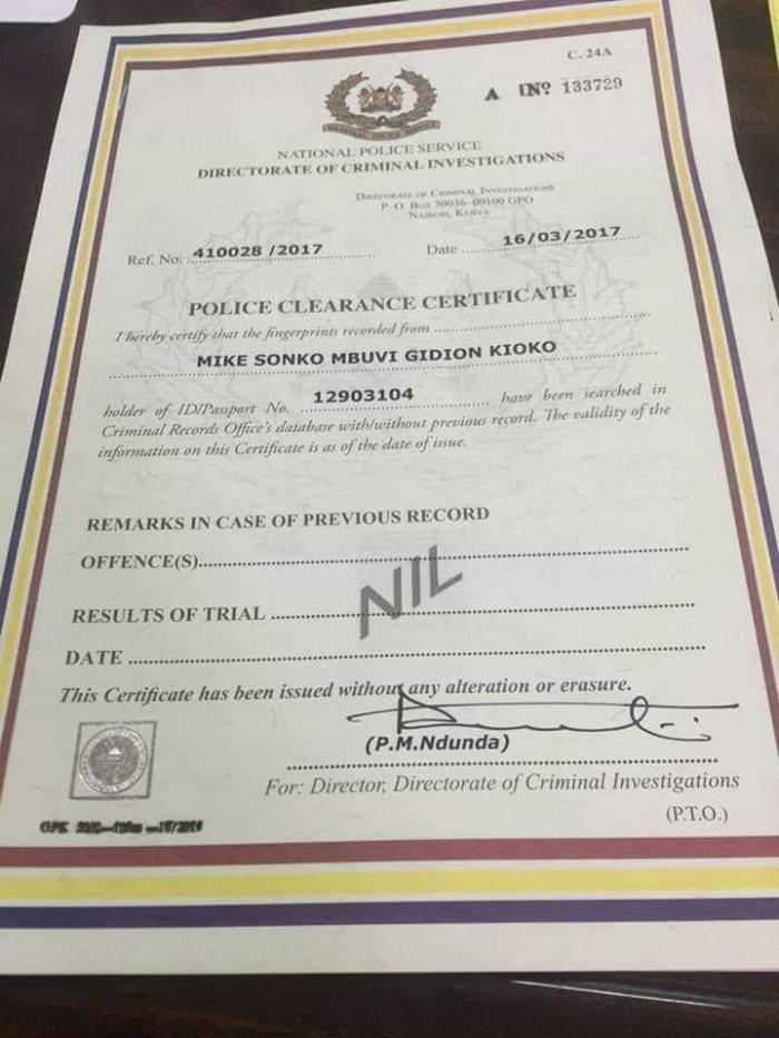 The good conduct certificate issued to Governor Mike Mbuvi Sonko