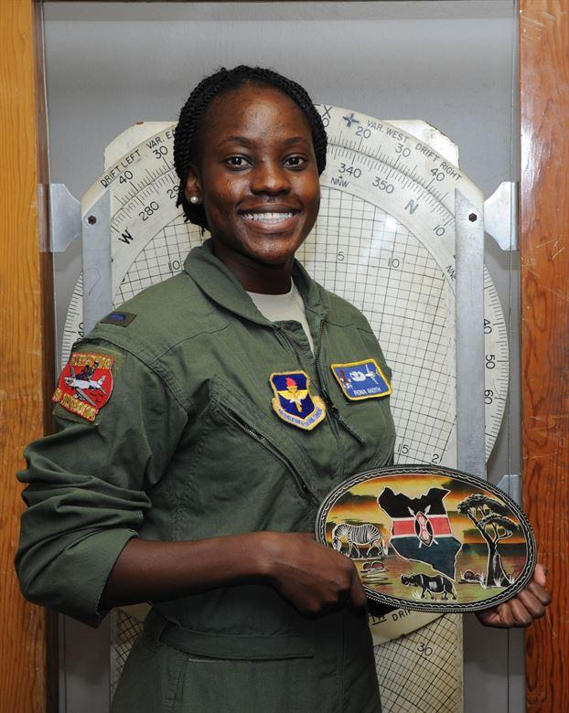 First Lt. Fiona Akoth, 14th Student Squadron Student Pilot, holds a ceramic Kenyan decoration June 16, 2017, at Columbus Air Force Base, Mississippi.