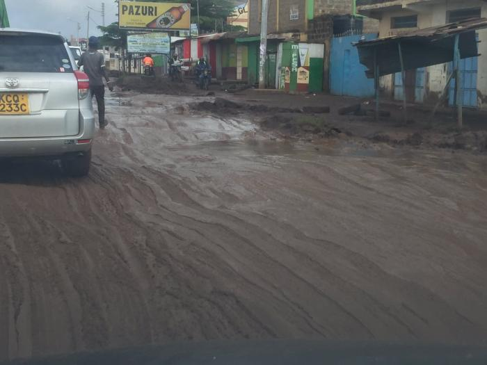 A dilapidated stretch of the Kasarani-Mwiki road