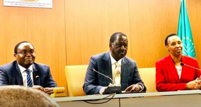 Former Prime Minister Raila Odinga (center) during the meeting with African Ambassadors in Washington on Tuesday, February 4, 2020.