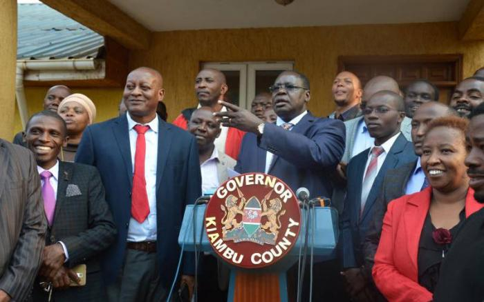 Kiambu acting Governor James Nyoro addresses the media at the county headquarters in August 2019. On Friday, November 22, he insisted on not working with Waititu
