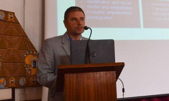 HAART Kenya Director Radoslaw Malinowski speaking during a church function