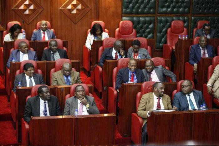 Nairobi County MCAs at the assembly chamber on October 30, 2018.