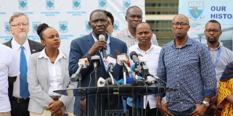 Government Spokesman Cyrus Oguna addresses the media at Kenyatta National Hospital on Saturday, March 14, 2020