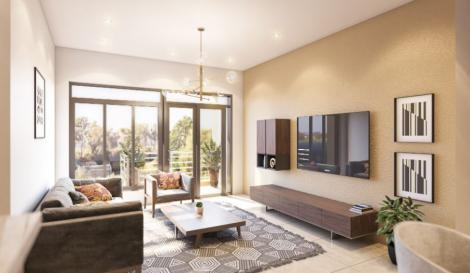 An artistic impression of a living room at the Kitisuru Amani Gardens housing project.