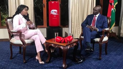 Anne Kiguta (left) with Deputy President William Ruto at the DP's Karen, Nairobi home in July 2019