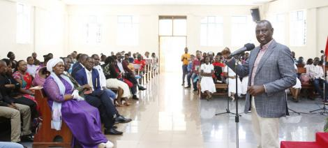 A photo of Deputy President William Ruto addressing congregants at the  Friends Church (Quakers) in Lang'ata, Nairobi on Sunday, March 15, 2020.