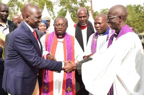 Deputy President William Ruto pictured at the Sunday service at the Anglican Church of Kenya (ACK), Emmanuel Parish, Butere Diocese, Khwisero Constituency, Kakamega County on March 1, 2020.
