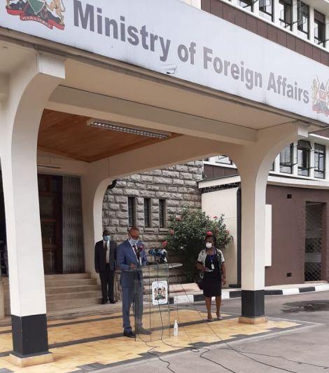 Foreign Affairs Principal Secretary Macharia Kamau addressing the media outside his office along Harambee Avenue Nairobi, April 14, 2020.