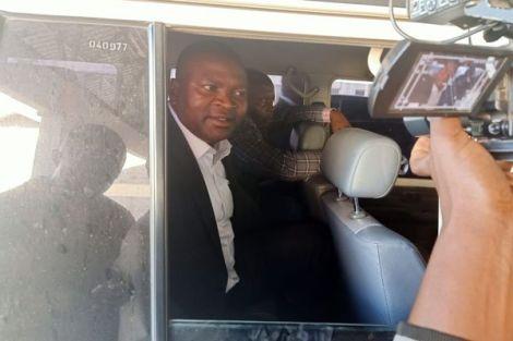 Former Sports Cabinet Secretary Rashid Echesa outside JKIA court on February 14, 2020.