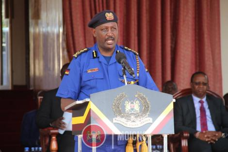 Inspector General Hillary Mutyambai during a passing out parade for 1,224 officers in December 2019