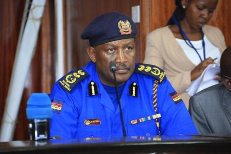 Inspector-General of Police Hillary Mutyambai speaking at the special seating held by the National Assembly's Committee on Education on February 26.