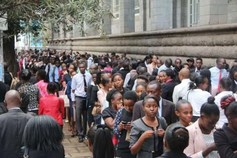 A photo of job seekers queuing up on Wabera Street in Nairobi waiting to be interviewed by Sarova Stanley on May 26, 2018.