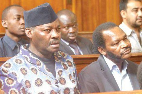 President Uhuru Kenyatta's cousins Captain Kung'u Muigai and Ngengi Muigai during the hearing of the case in Nairobi