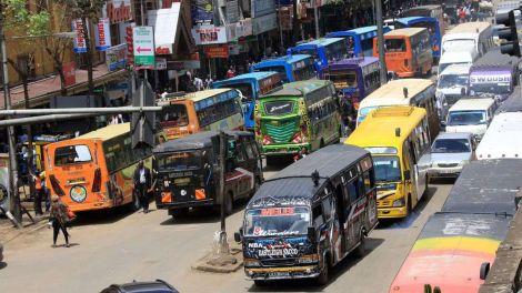 Public service vehicles in Nairobi.