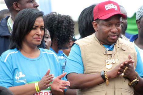 Nairobi Governor Mike Sonko and Woman Rep Esther Passaris during the Standard Chartered Nairobi Marathon in 2018.