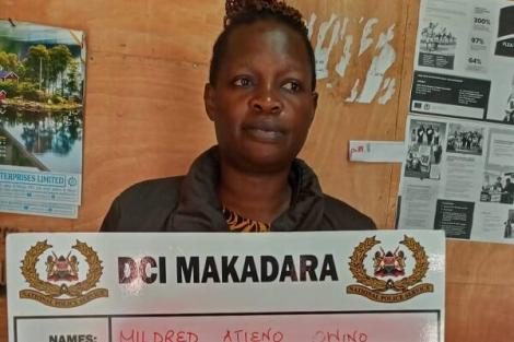 Mildred 'Atty' Atieno at the DCI Makadara offices on January 25, 2020, when she was cited for incitement and violence.