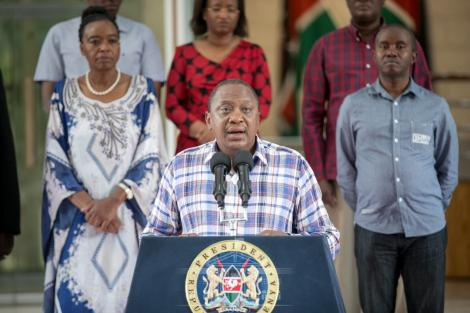 A photo of President Uhuru Kenyatta issuing an address at Harambee House on Sunday, March 15, 2020.