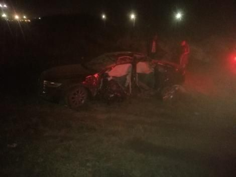 The wreckage of the Audi that was involved in an accident along Mombasa Road on July 25, 2020.
