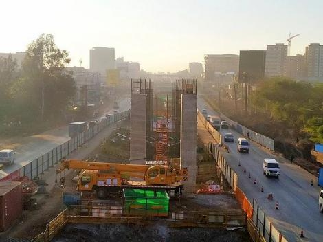Construction of the elevated section of Nairobi Expressway along NextGen Mall, Nairobi