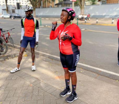 DP William Ruto's Wife Rachel Ruto with cyclists in Nairobi on October 24, 2020.