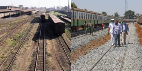 The previous Nairobi Central Railway station (left) and President Uhuru Kenyatta inspecting the Railway Station on September 17, 2020 (right).