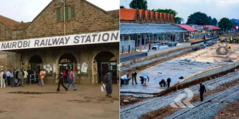 Nairobi Central Railway Central Station in 2017 (left) and ongoing constrcution work at the Nairobi Central Railway Central Station in 2020 (right)