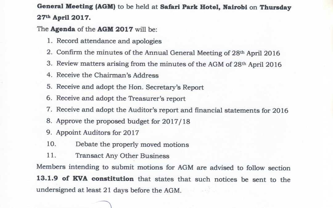 Notice and Agenda: 51st Kenya Veterinary Association-Annual General Meeting