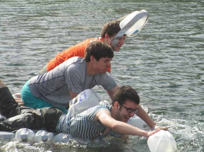 The KHS Physics class continues the tradition of the milk jug canoe race at Rand Park pond. (Jacob Mitchell, Grant Gable, Kendall Berner)