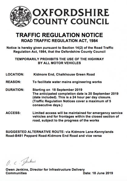 road closure thames water kidmore end september 2019