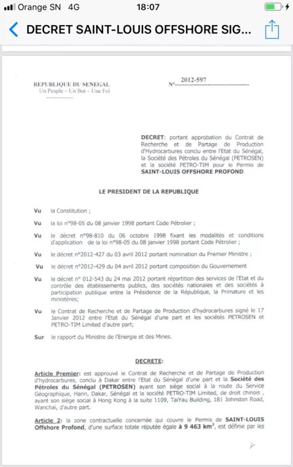 contrat de pétrole 3 188x300 Feuilleton du Pétrole au Sénégal: un document vient allonger la liste des ....