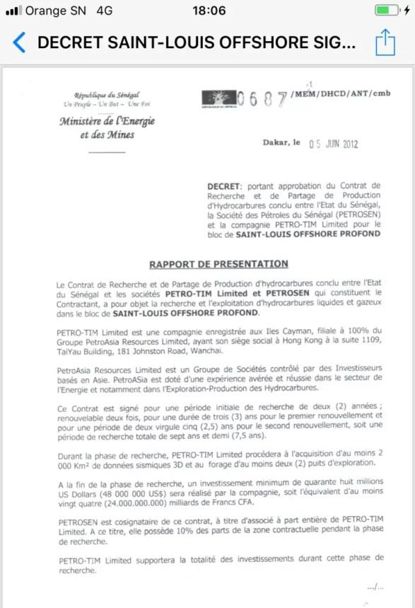 contrat pétrole 1 205x300 Feuilleton du Pétrole au Sénégal: un document vient allonger la liste des ....
