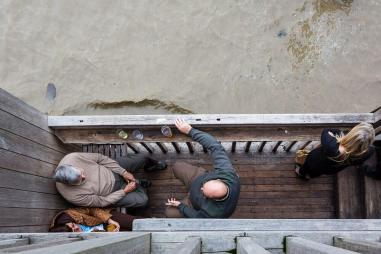 Patrons downstairs