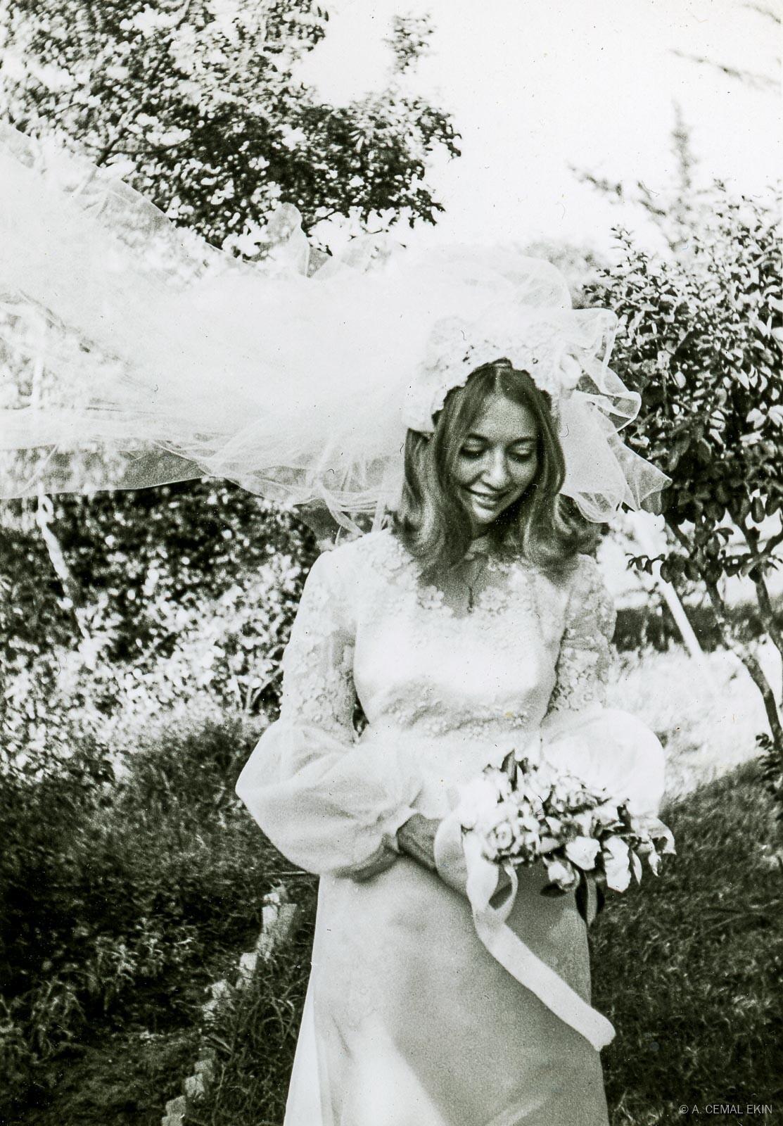 Jan wearing her wedding gown in Adana, Turkey