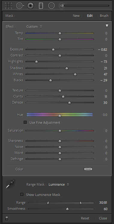 Gradient filter with luminance range mask adjustments