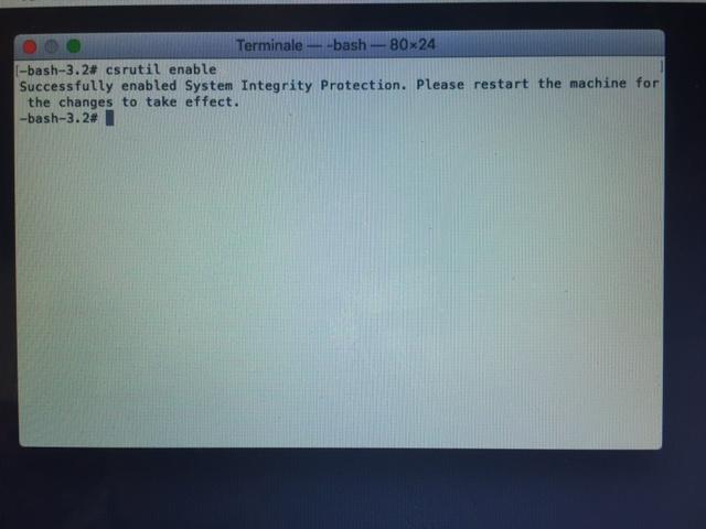 NTFS su Sierra - mac enable System Integrity Protection