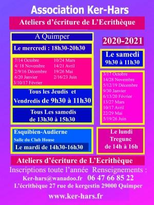 Les ateliers  d'écriture  2020-2021