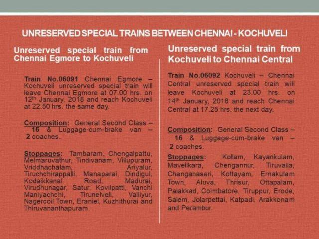 Pongal Special Trains to Kerala Tamilnadu