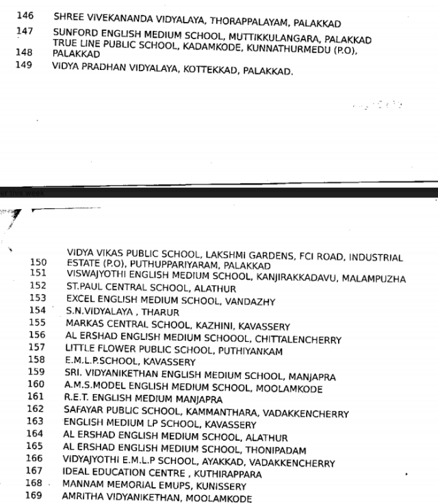 list of schools shutting down in paLAKKAD